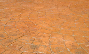 Cobblestone, flagstone and weathered stone concrete stamping