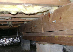 sagging crawl space with wooden shimming a Philipsburg crawl space