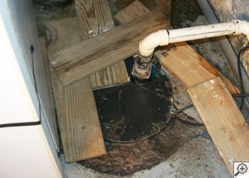 An ugly, clogged sump pump system in Port Matilda, Pennsylvania