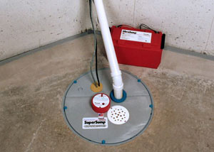 A sump pump system with a battery backup system installed in Morrisdale