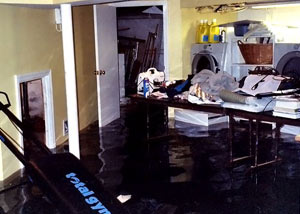 A laundry room flood in Philipsburg, with several feet of water flooded in.