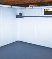 Plastic basement wall panels installed in a Ridgway, Pennsylvania home