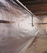 Radiant heat barrier and vapor barrier for finished basement walls in Ridgway, Pennsylvania